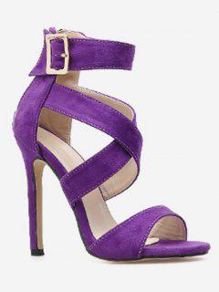 Crisscross Stiletto Heel Sandals - Purple Iris Eu 38