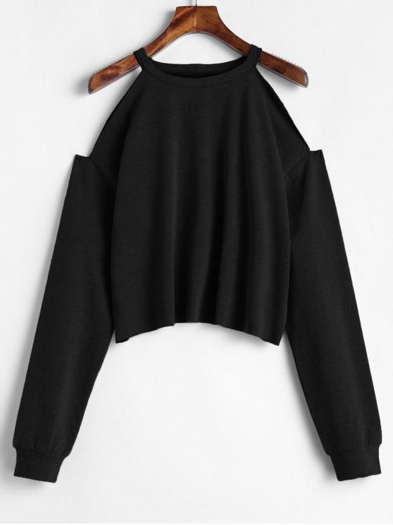 chic ZAFUL Cropped Cut Out Cold Shoulder Sweatshirt - BLACK L
