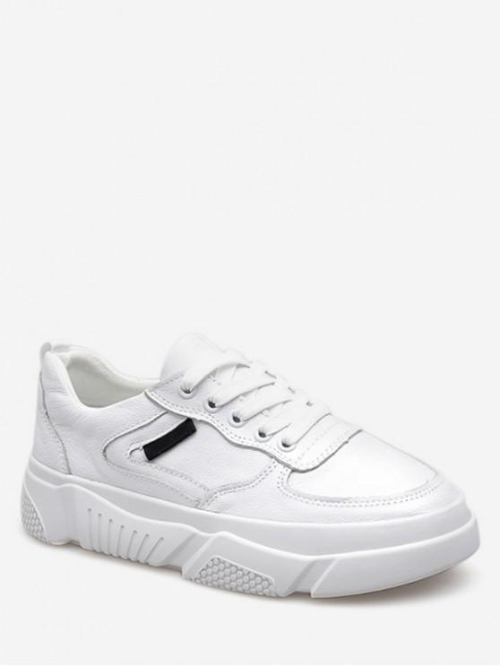 women's Casual Lace Up Sneakers - WHITE EU 39