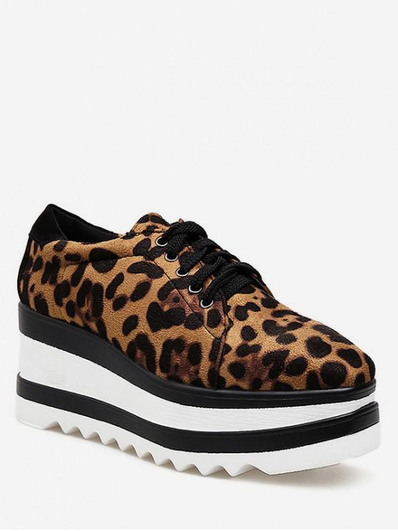 lady Lace Up Leopard Platform Shoes - LEOPARD EU 38