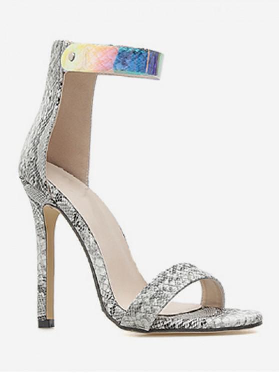 trendy Snake Print Ankle Strap Heeled Sandals - MULTI EU 37