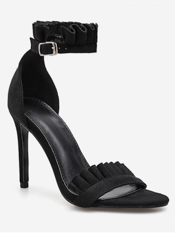 shops Ruffle Strap Stiletto Heel Sandals - BLACK EU 38