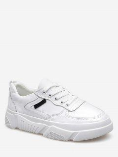 Casual Lace Up Sneakers - White Eu 37