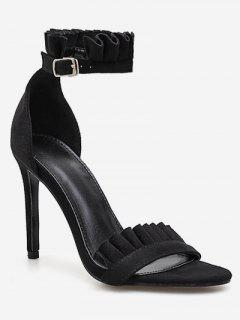 Ruffle Strap Stiletto Heel Sandals - Black Eu 38