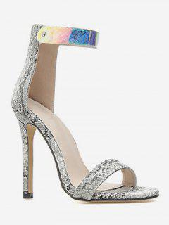 Snake Print Ankle Strap Heeled Sandals - Multi Eu 40