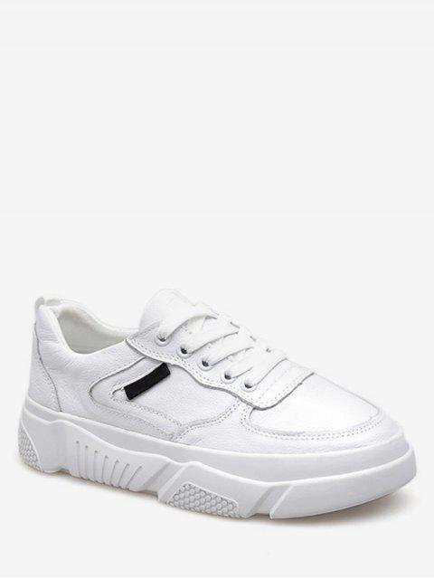women's Casual Lace Up Sneakers - WHITE EU 39 Mobile