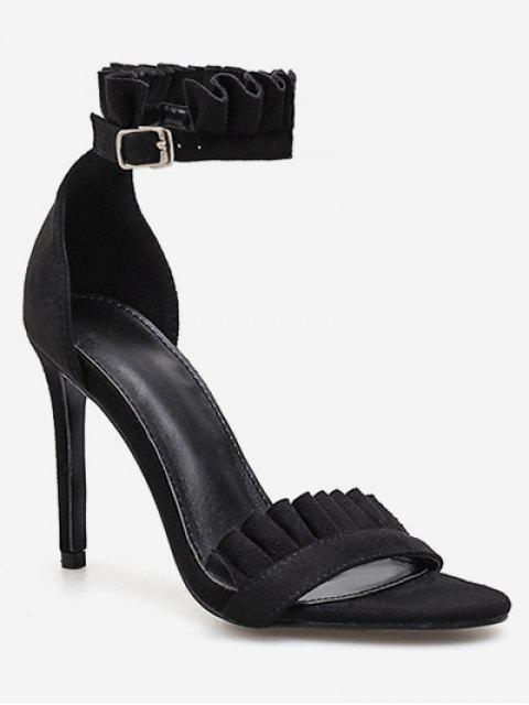 shops Ruffle Strap Stiletto Heel Sandals - BLACK EU 38 Mobile