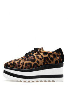 fd925a876b4 32% OFF  2019 Lace Up Leopard Platform Shoes In LEOPARD