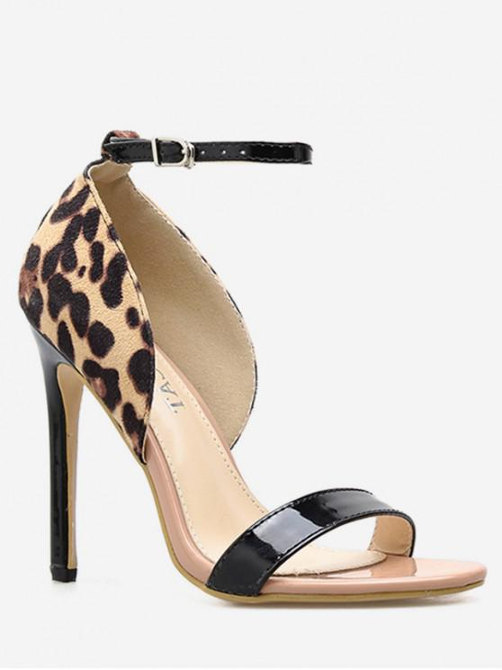 32ed2b282921 28% OFF  2019 Leopard Ankle Strap Heeled Sandals In LEOPARD