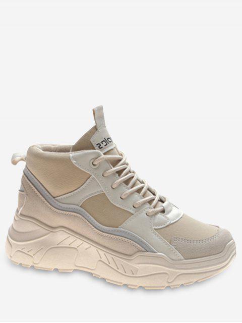 shop Mid Top Platform Sneakers - BEIGE EU 39 Mobile