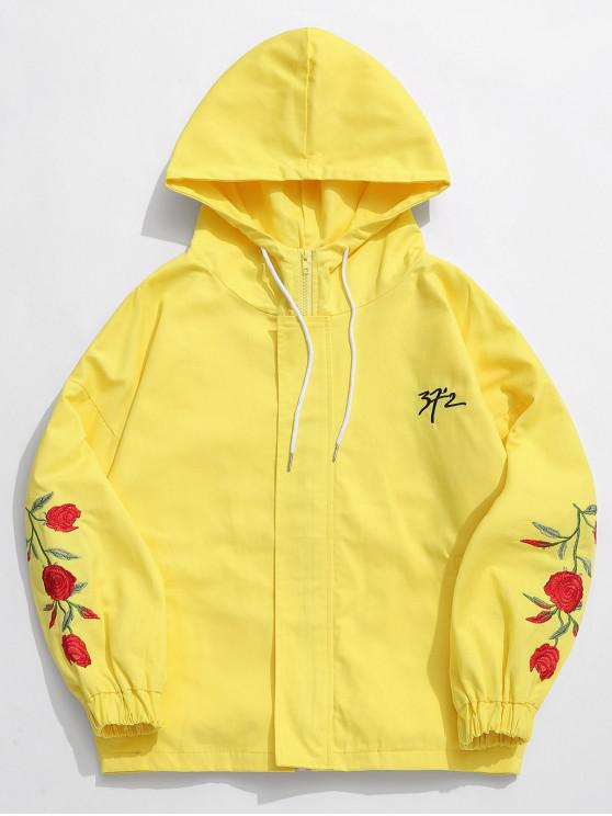 fashion Zip Fly Flower Embroidery Hooded Jacket - YELLOW XL