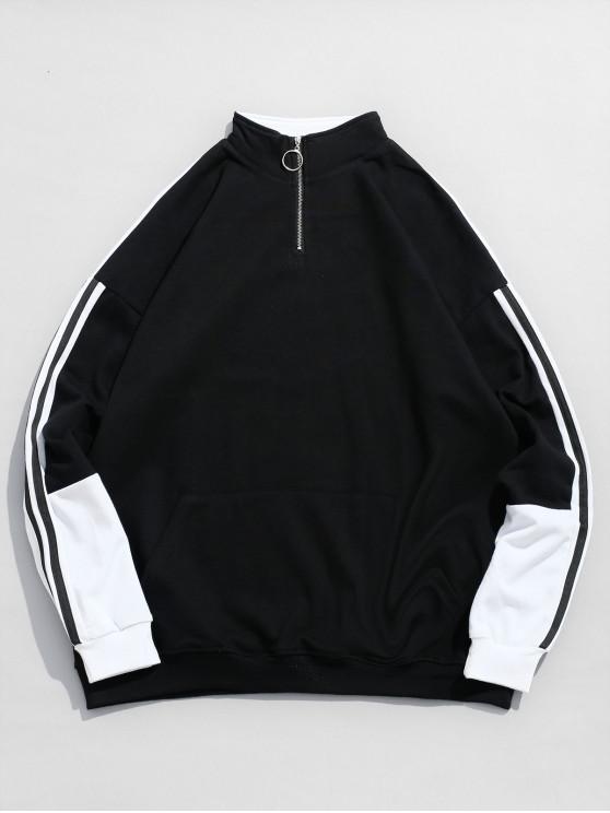 chic Color Block Side Stripe Sweatshirt - BLACK L