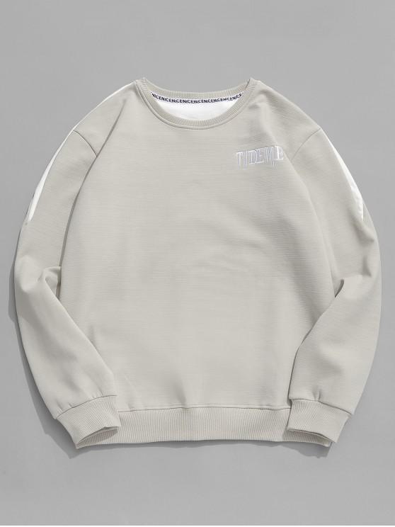 womens Contrast Letter Fleece Sweatshirt - GRAY CLOUD XS