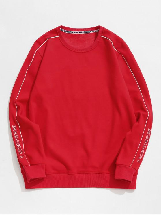women Embroidery Letter Fleece Sweatshirt - RED XS