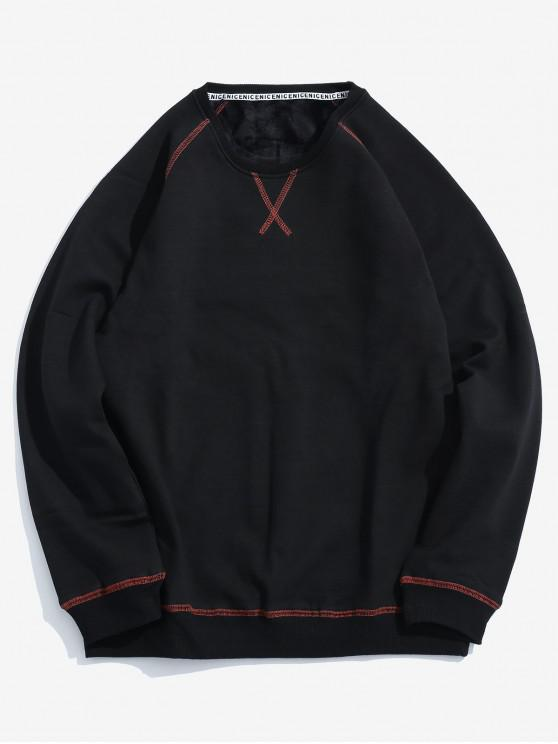 Sudadera polar con detalle de costura - Negro S