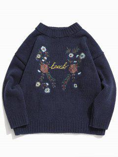 Pull En Tricot Lettre Brodée Avec Fleur Au Poitrine - Bleu De Minuit Xl