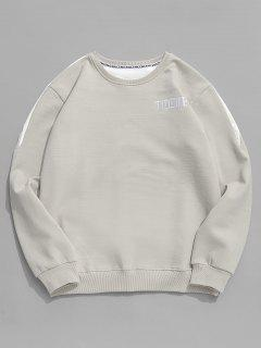 Contrast Letter Fleece Sweatshirt - Gray Cloud S