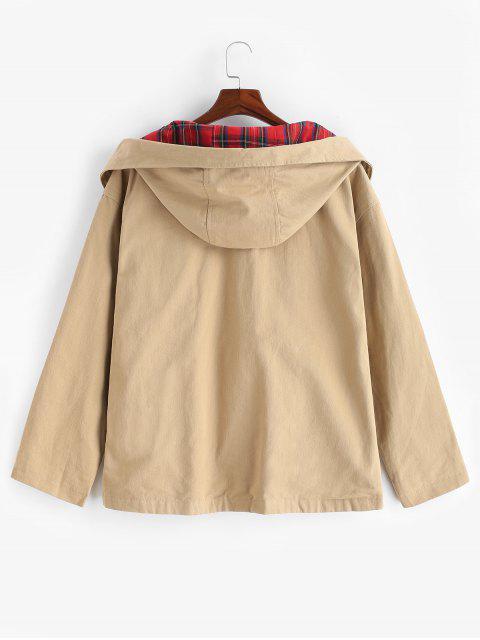affordable Casual Pocket Zipper Jacket - KHAKI L Mobile
