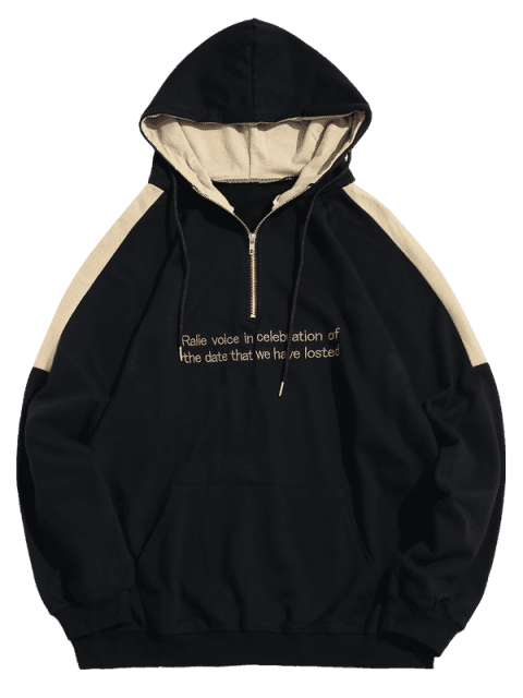 hot Contrast Sentence Embroidery Hoodie - BLACK 2XL Mobile