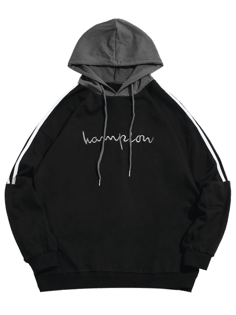 fancy Contrast Stripe Chest Embroidery Letter Hoodie - BLACK M Mobile