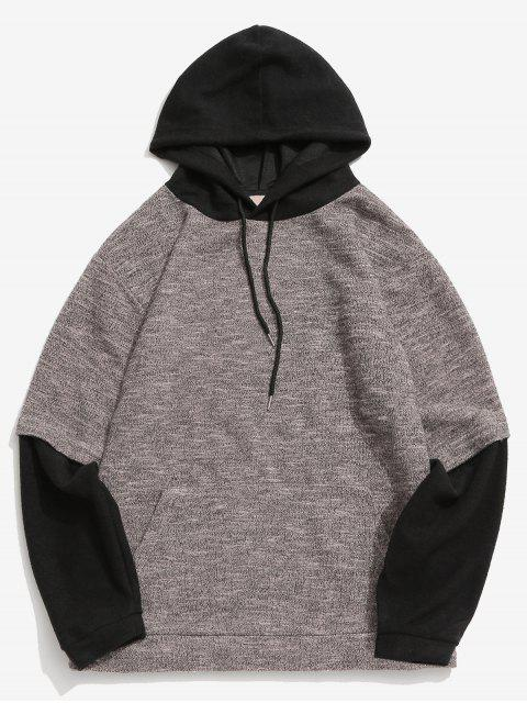buy Contrast False Two Piece Hoodie - APRICOT M Mobile