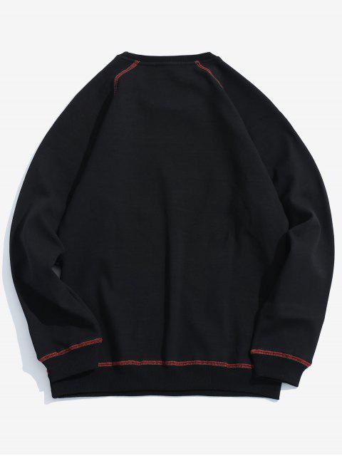 Sweat-shirt Cousu Détaillé en Laine - Noir S Mobile