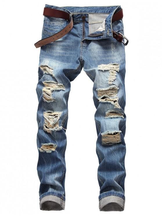 hot Moul Style Distressed Straight Jeans - WINDOWS BLUE 34