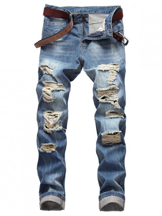 Jeans rectos desgastados estilo moul - Windows Azul 40