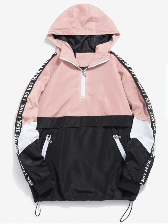 Sudadera con capucha de rayas con gráficos en contraste de Half Zip - Color de Melocotón Oscuro L