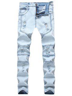 Spliced Design Ripped Slim Fit Biker Jeans - Denim Blue 32