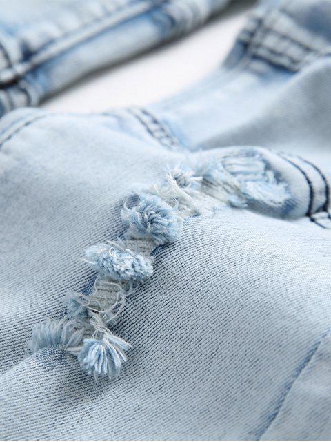 ladies Spliced Design Ripped Slim Fit Biker Jeans - DENIM BLUE 40 Mobile