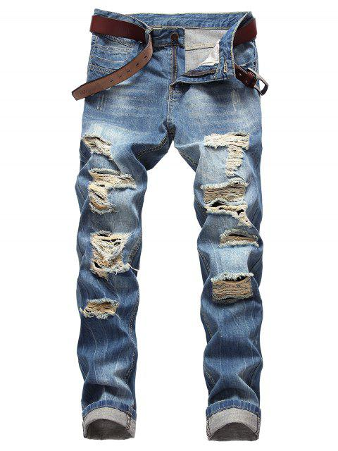 outfit Moul Style Distressed Straight Jeans - WINDOWS BLUE 36 Mobile