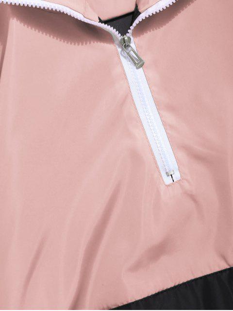 best Contrast Half Zip Graphic Striped Hoodie - DEEP PEACH 2XL Mobile