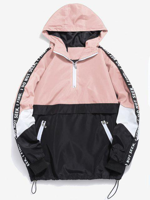 lady Contrast Half Zip Graphic Striped Hoodie - DEEP PEACH XL Mobile
