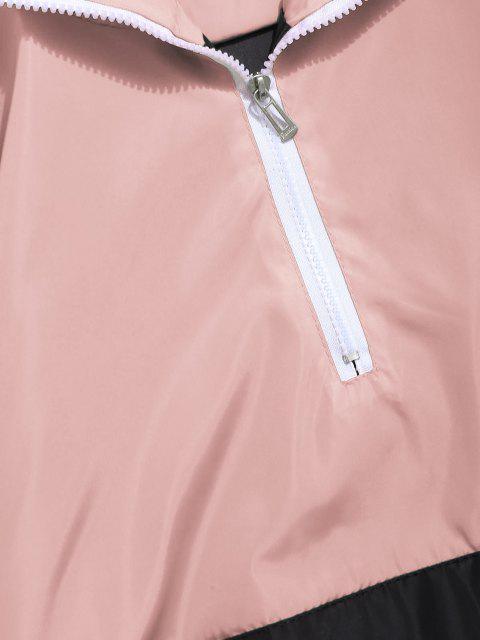 Sweat-Shirt à Capuche Rayé Graphique avec Inscription et Demi-Fermeture Éclair en Dégradé de Couleurs - Pêche Foncée 3XL Mobile