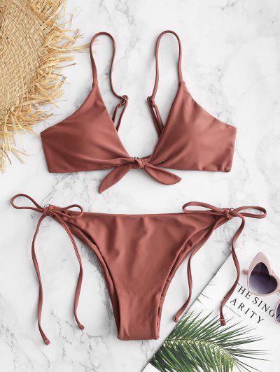 ZAFUL Knotted String Bikini Set - Lipstick Pink M