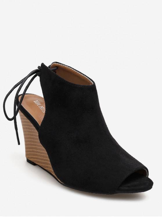 buy Peep Toe Wedge Heel Slingback Shoes - BLACK EU 40