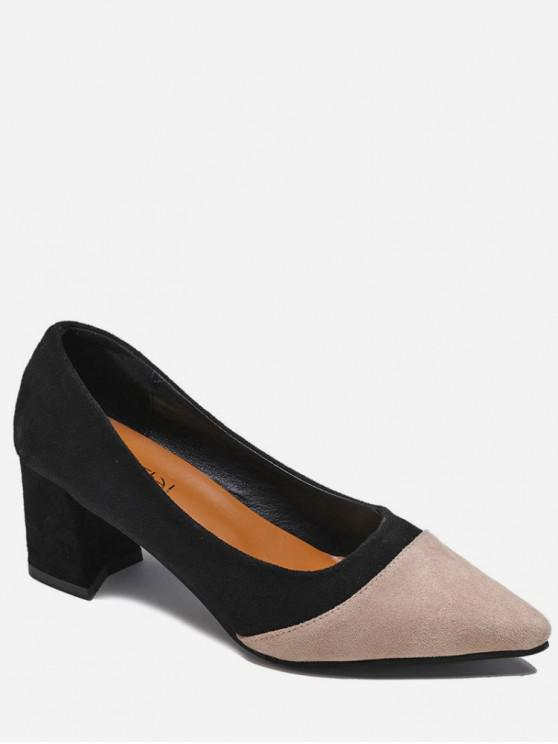 best Two Tone Pointed Toe Suede Pumps - BLACK EU 39