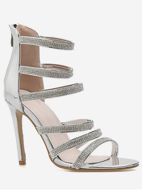 84ff9b5df 34% OFF] 2019 Rhinestone Strappy High Heel Gladiator Sandals In ...