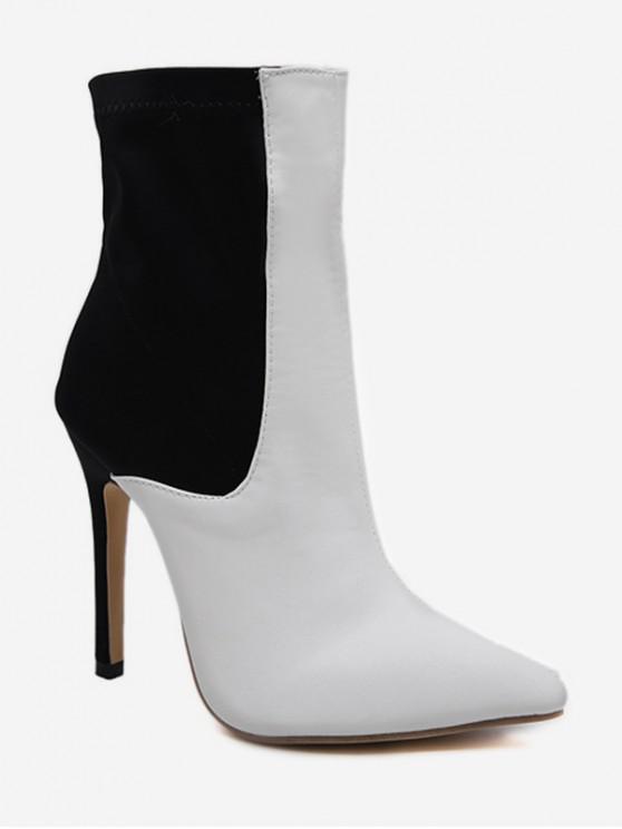 Two Tone Pointed Toe Heeled Boots - Nero EU 39