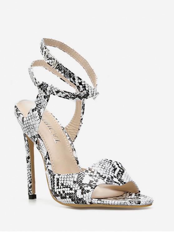 Snake Print Ankle Wrap Heeled Sandals - Multi Colori EU 39