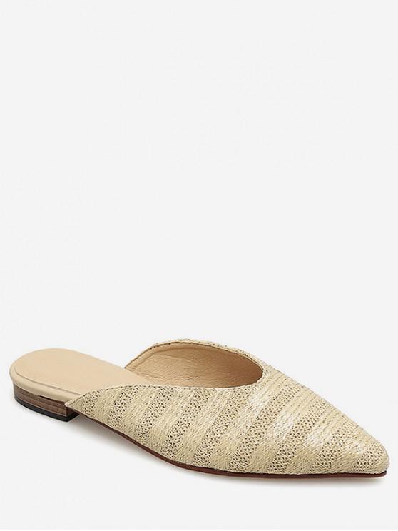 unique Pointed Toe Braided Stripe Flats - APRICOT EU 37