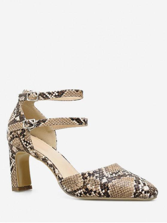 womens Snake Print Pointed Toe Chunky Heel Pumps - LIGHT BROWN EU 38