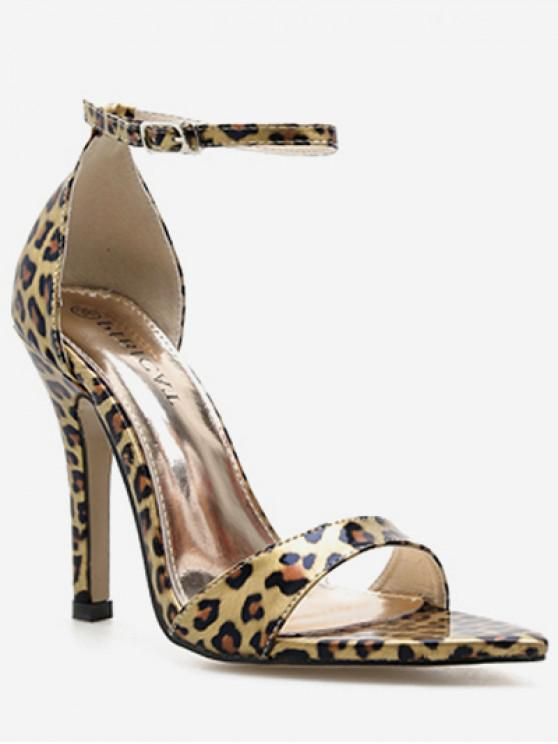 f9343449fd51 31% OFF  2019 Leopard Pointed Toe Heeled Sandals In LEOPARD