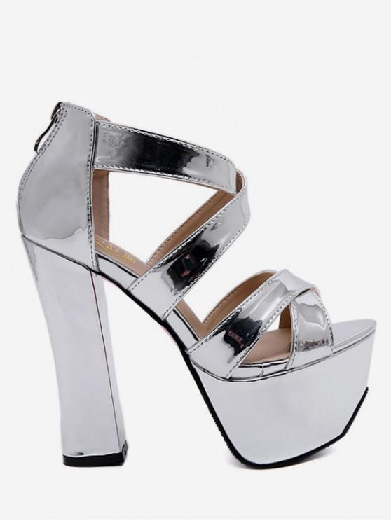 819c8c9daf9a 40% OFF  2019 Crisscross Strap Platform Heeled Sandals In SILVER