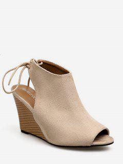 Peep Toe Wedge Heel Slingback Shoes - Apricot Eu 39