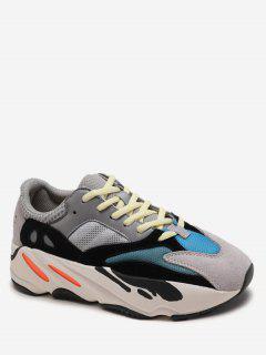 Breathable Color Block Platform Sneakers - Platinum Eu 39