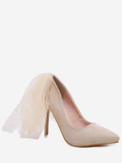 Glitter Back Mesh High Heel Pumps - Apricot Eu 36