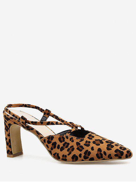 fashion Leopard Cut Out Pointed Toe Pumps - LEOPARD EU 40 Mobile