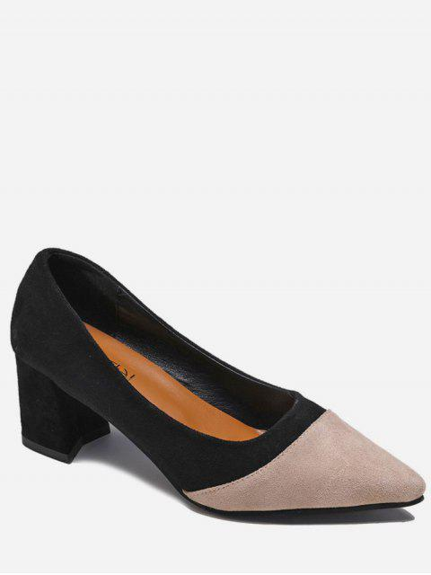 best Two Tone Pointed Toe Suede Pumps - BLACK EU 39 Mobile